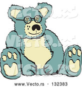 Vector of Blue and Tan Stuffed Teddy Bear Wearing Glasses Retro by Andy Nortnik