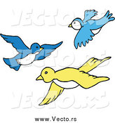 March 14th, 2015: Vector of Blue and Yellow Birds Flying in a Group by LaffToon