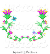 Vector of Blue Butterfly and Dragonfly Flying over Flowering Vines Border Design by Bpearth