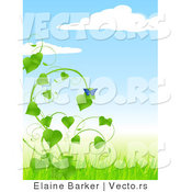 Vector of Blue Butterfly on Green Vine with Nice Weather Background Scene by Elaineitalia