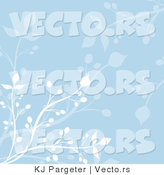 Vector of Blue Floral Vines Background Design with White Branches by KJ Pargeter