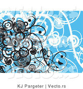 Vector of Blue Floral Vines Grunge Background Design with Black Circles by KJ Pargeter