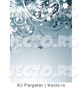 Vector of Blue Floral Vines Invitation Background Border by KJ Pargeter