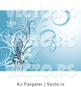 Vector of Blue Floral Vines Invitation Background by KJ Pargeter