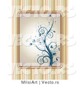 Vector of Blue Floral Vines over a Striped Background Design by MilsiArt