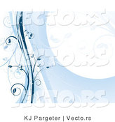 Vector of Blue Floral Vines Stationary Background by KJ Pargeter