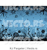 Vector of Blue Floral Winter Grunge Background Design with Flowers and Snowflakes by KJ Pargeter