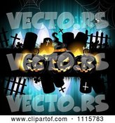 Vector of Blue Halloween Background with Tombstones and Black Jackolanterns 2 by Merlinul