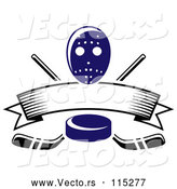 Vector of Blue Hockey Puck over Crossed Sticks a Blank Banner and Mask by Vector Tradition SM