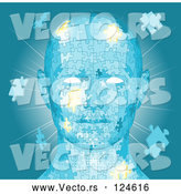 Vector of Blue Human Head with Puzzle Pieces and Light by AtStockIllustration