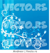 Vector of Blue Lines with White Floral Swirls and Vines - Background Design by Andresr