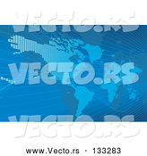 Vector of Blue Map of the Americas and Europe by AtStockIllustration