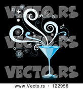 Vector of Blue Martini Cocktail with Splashes on Black by Amanda Kate