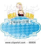 Vector of Blue Oktoberfest Sign with a Blond Lady Serving Frothy Beers by Pushkin