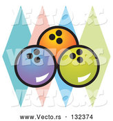 Vector of Blue, Orange and Green Bowling Balls over Colorful Diamonds by Andy Nortnik