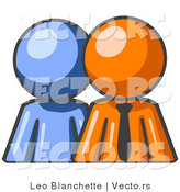 Vector of Blue Person Standing Beside an Orange Business Guy, Symbolizing Teamwork or Guystoring by Leo Blanchette