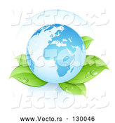 Vector of Blue Planet Earth Resting Gently on Top of Dew Covered Plant Leaves by Beboy