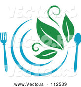 Vector of Blue Plate and Silverware and Green Leaves Vegetarian Food Design by Vector Tradition SM