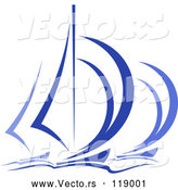 Vector of Blue Regatta Sailboats 5 by Vector Tradition SM