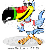 Vector of Blue Toucan Bird with a Red, Yellow, Green and Black Beak, Wearing a White T Shirt and Giving the Thumbs up by Holger Bogen
