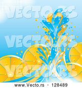 Vector of Blue Water Splashing Against Orange Slices by MilsiArt