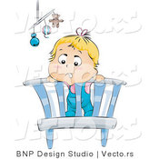 Vector of Bored Baby Standing in a Crib by BNP Design Studio