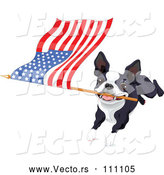 Vector of Boston Terrier or French Bulldog Running with an American Flag by Pushkin