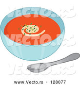 Vector of Bowl of Tomato Soup with Seasoning Garnish by Rosie Piter
