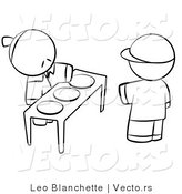 Vector of Boy Choosing Plate of Food for Hungry Young Person - Coloring Page Outlined Art by Leo Blanchette