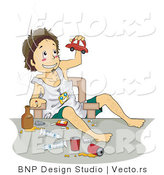 Vector of Boy Doing Drugs and Playing with Toy Car by BNP Design Studio