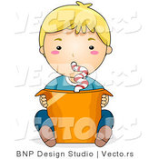 Vector of Boy Drinking from Large Orange Cup with Curly Straw by BNP Design Studio