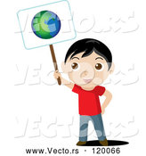 Vector of Boy Holding Ecology Planet Earth Sign by Rosie Piter
