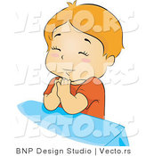 Vector of Boy Praying to God Before Bedtime by BNP Design Studio