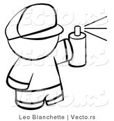 Vector of Boy Spray Painting - Coloring Page Outlined Art by Leo Blanchette