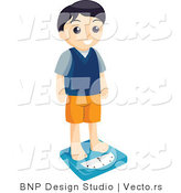 Vector of Boy Weighing Himself on a Scale by BNP Design Studio