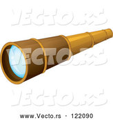 Vector of Brass Spyglass Telescope by Graphics RF