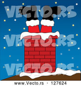 Vector of Brick Chimney on a Snowy Night by Pams Clipart