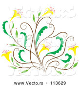 Vector of Brown and Green Floral Design Element with Yellow Flowers by Cherie Reve