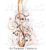 Vector of Brown and Orange Curly Vines Background by KJ Pargeter