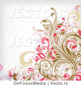 Vector of Brown and Pink Floral Vines over off White Background Border Design by OnFocusMedia