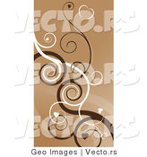 Vector of Brown Hearts on Swirling Vines Background by AtStockIllustration