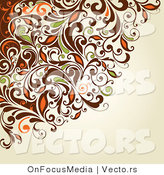 Vector of Brown, Orange and Green Swirly Vines over Beige Background Design by OnFocusMedia