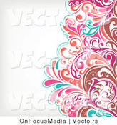 Vector of Brown, Pink and Turquoise Floral Vines Pattern over off White Background Border Design by OnFocusMedia