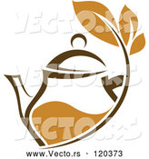 Vector of Brown Tea Pitcher with Leaves by Vector Tradition SM