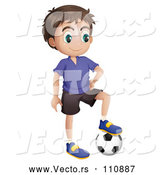 Vector of Brunette Boy Resting a Foot on a Soccer Ball by Graphics RF