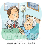 Vector of Brunette Male Doctor Visiting with an Elderly Patient by BNP Design Studio