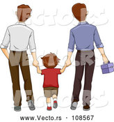 Vector of Brunette White Boy Holding Hands and Walking with His Two Dads by BNP Design Studio