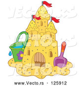 Vector of Bucket and Shovel Beside a Sand Castle with Flags by Visekart