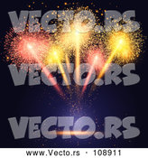 Vector of Burst of Fireworks over Black and Blue by KJ Pargeter