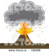 Vector of Bursting Volcano with an Ash Cloud by Paulo Resende